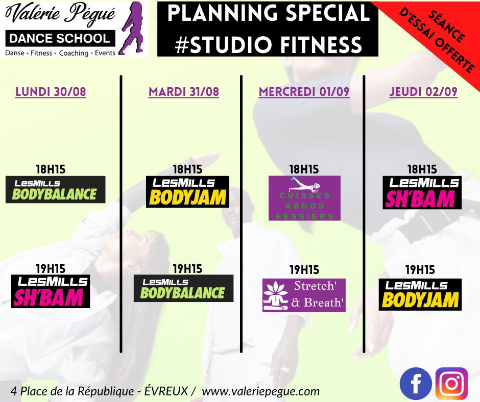planning Studio Fitness du 30/08 au 02/09